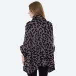 Wholesale women s Leopard Print Knit Cowl Neck Poncho Sweater One fits most L Ac