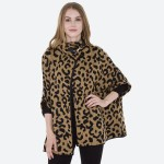 Wholesale women s Leopard Print Knit Cowl Neck Poncho Sweater One fits most L Ac