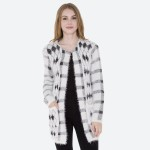 Wholesale women s Diamond Plaid Print Fuzzy Knit Cardigan Pockets Hook Eye Closu