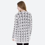 Wholesale women s Houndstooth Fuzzy Knit Cardigan Pockets Hook Eye Closure Front