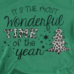 Wholesale it s Most Wonderful Time Year Leopard Print Christmas Tee Printed Bel