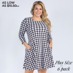 Wholesale women s Plus Houndstooth Print Sleeve Dress Pockets Pack o Round neckl