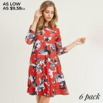 Wholesale women s Snowflake Poinsettia Print Sleeve Dress Pack o Round neckline