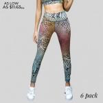 Wholesale women s Active Multi Animal Print Tye Die Workout Leggings Pack o Mult