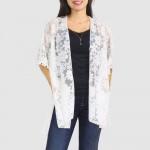 Wholesale women s Floral Lace Kimono Pom Pom Trim Detail One fits most Polyester