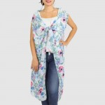 Wholesale women s Lightweight Flower Print Vest Cover Up One fits most Polyester