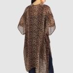 Wholesale women s Lightweight Leopard Print Kimono One fits most L Polyester