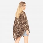 Wholesale women s Lightweight Leopard Print Poncho One fits most Polyester Spand