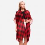 Wholesale women s Lightweight Buffalo Check Kimono One fits most L Polyester