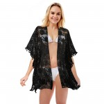 Wholesale women s Floral Lace Cover Up Pom Pom Trim One fits most L Polyester