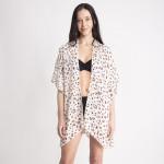 Wholesale women s Lightweight Leopard Print Ruffle Short Kimono One fits most L