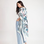 Wholesale women s Lightweight Floral Damask Print Kimono One fits most Viscose