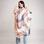 Wholesale women s Lightweight Enlarged Tropical Leaf Print Kimono One fits most
