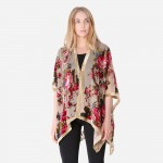Wholesale women s Lightweight Floral Velour Mesh Kimono One fits most L Nylon Ra