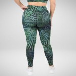 Wholesale palm Leaf Leggings Rise Fit Soft Way Stretch Fabric o rise elasticized