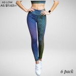 Wholesale striped Geo Print Leggings Rise Waist Band o Colorful graphic print th