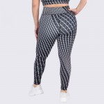 Wholesale women s XL Plus Active Geo Striped Workout Leggings o Elasticized rise