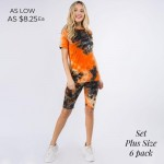 Wholesale plus Matching Tie Dye Athleisure Set Pack Matching Set Includes Biker
