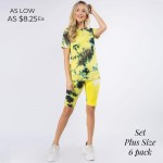 Wholesale plus Matching Tie Dye Athleisure Set Pack Matching Set Includes Biker