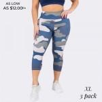 Wholesale women s Plus Active Blue Camouflage Workout Capri Leggings Pack o rise