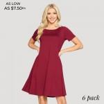 Wholesale women s Short Sleeve Line Dress Pockets Pack o Round neckline o Short