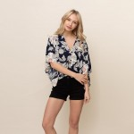 Wholesale floral Button Down Top One Fits Most Polyester
