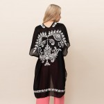 Wholesale lightweight Kimono Embroided Paisley Accents One Fits Most Polyester V