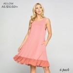 Wholesale sleeveless Ruffle Dress Side Pockets Pack o Sleeveless o Crew neck o S