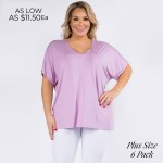 Wholesale plus Oversized V Neck Tee Side Slit Details PACK o Short sleeves v nec