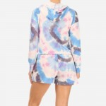 Wholesale multi Color Tie Dye French Terry Lined Piece Loungwear Set Matching Se