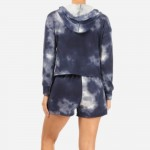 Wholesale navy Tie Dye French Terry Lined Piece Loungwear Set Matching Set Inclu
