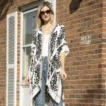 Wholesale lightweight Patterned Kimono Pom Pom Accents One Fits Most Viscose