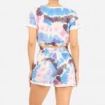Wholesale tie Dye Loungewear Set Pack Polyester Spandex Crop Top Has Elastic Ban