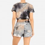 Wholesale tie Dye Loungewear Set Pack Polyester Spandex Crop Top Has Elastic Ban