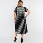 Wholesale plus Soft Stretchy Knit Fabric Striped Dress Rounded Hem Short Sleeves
