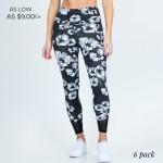 Wholesale floral Print Women s Active Leggings Mesh Details Pack Waist Two Side