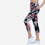 Wholesale floral Print Women s Active Leggings Pack Waist Two Side Pockets Spand