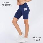 Wholesale plus Biker Shorts Side Pocket Pack o Flattening elasticized waistband