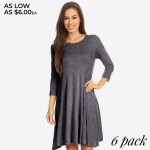Wholesale women s Solid Color Swing Tunic Dress Sleeves PACK o Relax Scoop Neckl