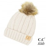 Wholesale c C KIDS Kids Fur Lined Chunky Knit Faux Fur Pom Beanie Acrylic One fi