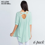 Wholesale top far basic short sleeves edgy lace up placket oversized silhouette