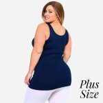 Wholesale women s Plus Solid Color Seamless Tank Top o Round Neckline o Sleevele