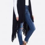 Wholesale solid knit vest fringes One fits most longest Acrylic