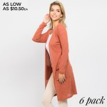 Wholesale women s Solid Color Thin Knit Cardigan PACK Long sleeves open front Tw