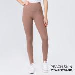 Wholesale women s Mix Brand Solid Peach Skin Leggings Elastic Waistband Full Ins