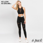 Wholesale women s active breathable mesh strip workout leggings o Flat elasticiz