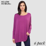 Wholesale women s Oversized Solid Color Tunic Top Domain Sleeves PACK o Dolman s