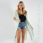 Wholesale do everything Love Brand Lightweight Embroidered Tassel Trim Kimono On