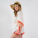 Wholesale beachy embroidered poncho tassels Viscose One fits most