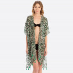 Wholesale women s Lightweight Sheer Leopard Print Tassel Kimono One fits most L